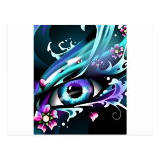 ojos del mar azul profundo tarjeta postal