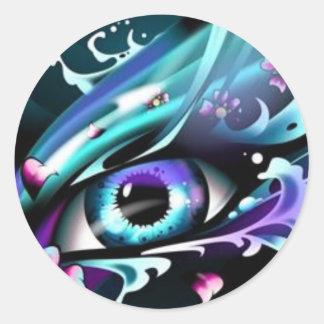 Ojos del océano azul profundo pegatina redonda