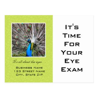 Ojos del pavo real del recordatorio de la cita del postal