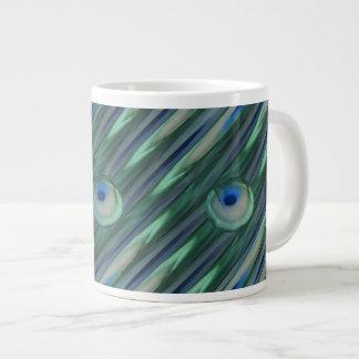 Ojos del pavo real taza de café grande