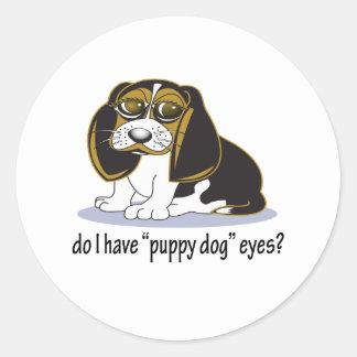 Ojos del perro de perrito del beagle pegatinas redondas