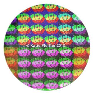 Ojos del pixel del arco iris platos