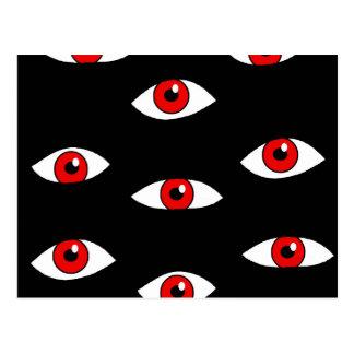 Ojos del rojo tarjeta postal