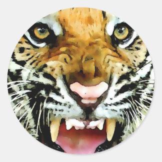 Ojos del tigre pegatina redonda