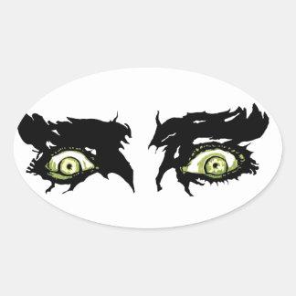 OJOS del ZOMBI - ojos pícaros asustadizos Calcomanía Ovaladas Personalizadas
