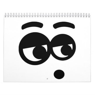 Ojos divertidos de la cara calendario de pared