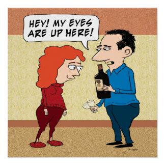 Ojos divertidos en el vino perfect poster