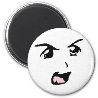 Ojos enojados del animado imán redondo 5 cm