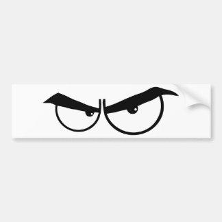 OJOS ENOJADOS del DIBUJO ANIMADO 0162-Angry-Cartoo Etiqueta De Parachoque