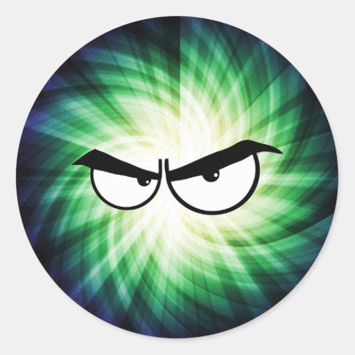 Ojos enojados del dibujo animado; Fresco Etiquetas Redondas