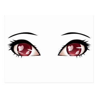 Ojos estilizados del rojo postal