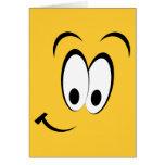 Ojos felices y sonrisa tarjetón