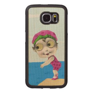 Ojos Googly grandes del chica del nadador de los Fundas De Madera Para Samsung S6