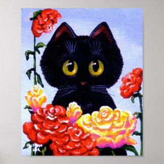 Ojos grandes Creationarts del gato negro de las fl Póster