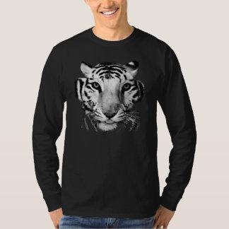 Ojos grandes del tigre monocromáticos playeras