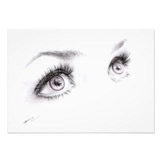 Ojos hermosos que dibujan la impresión minimalista fotografía