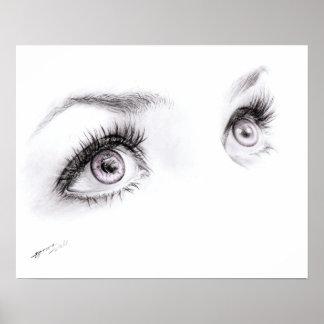 Ojos hermosos que dibujan la impresión minimalista póster