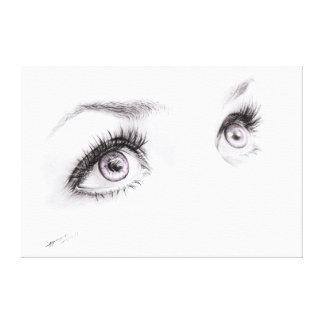 Ojos hermosos que dibujan la lona de arte impresiones en lona