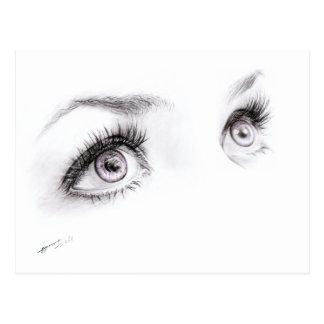 Ojos hermosos que dibujan la postal minimalista