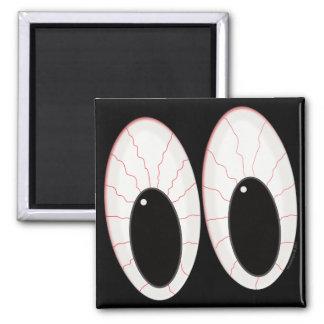 Ojos inyectados en sangre de Halloween de los glob Imán Cuadrado