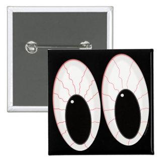 Ojos inyectados en sangre de Halloween de los glob Pin Cuadrado
