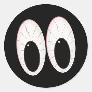 Ojos inyectados en sangre de Halloween de los Pegatina Redonda
