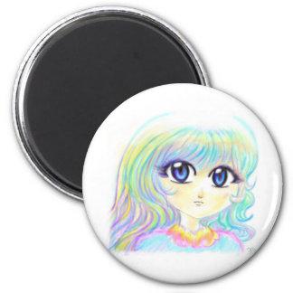Ojos mágicos del chica de Manga del arco iris colo Imanes De Nevera