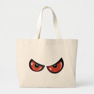 Ojos malvados del rojo bolsa tela grande