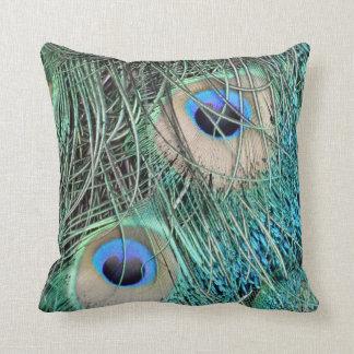 Ojos manchados del pavo real cojines