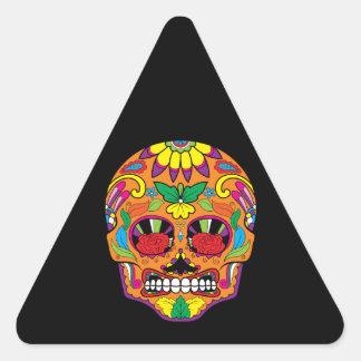 Ojos mexicanos anaranjados del rosa rojo del pegatina triangular