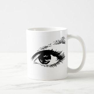 ojos morados taza básica blanca