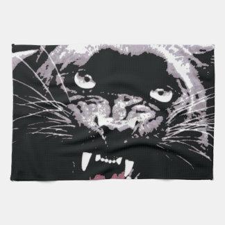 Ojos negros y blancos de Jaguar Toallas De Cocina