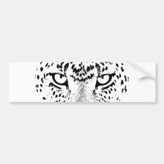 Ojos negros y blancos del leopardo pegatina de parachoque