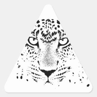 Ojos negros y blancos del leopardo pegatina triangular
