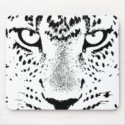 Ojos negros y blancos del leopardo alfombrilla de raton