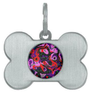 Ojos púrpuras del extracto placa de nombre de mascota