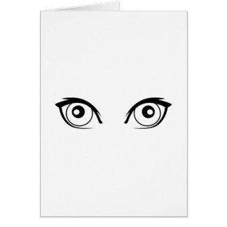 Ojos que miran fijamente tarjeta de felicitación