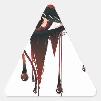 Ojos rojos del vampiro del carnaval pegatina triangular