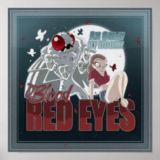 Ojos rojos sangre póster