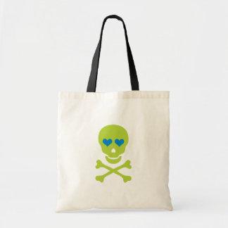 Ojos verdes de la bandera pirata y del corazón del bolsa de mano