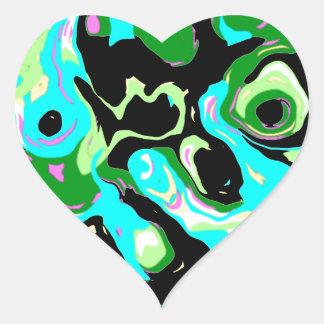 Ojos verdes del extracto calcomanía de corazón personalizadas