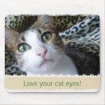 Ojos verdes del gato - mousepad beige tapetes de raton