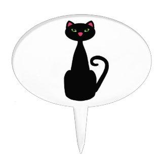 Ojos verdes del gato negro figura para tarta