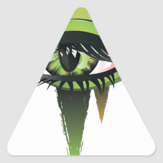 Ojos verdes del vampiro del carnaval pegatina triangular