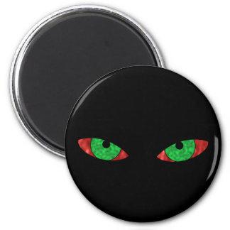 Ojos verdes malvados imán redondo 5 cm