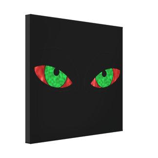 Ojos verdes malvados impresión en lona estirada