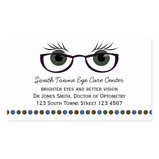 Ojos verdes y vidrios plantilla de tarjeta de visita