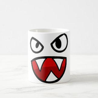 Ojos y boca del monstruo del dibujo animado con taza