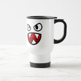Ojos y boca del monstruo del dibujo animado con taza térmica