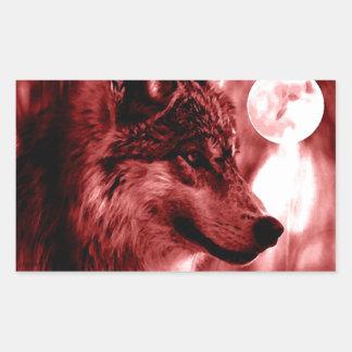 Ojos y luna del lobo pegatina rectangular